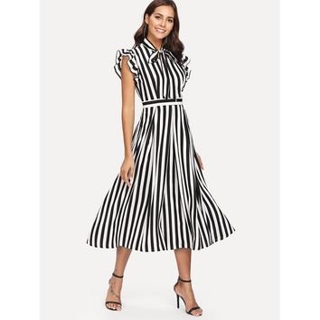 Ruffle Shoulder Vertical Striped Dress