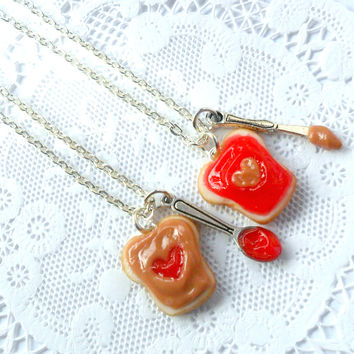 Peanut Butter Strawberry Jelly Heart Necklace Set, BFF, Choice Of Stainless Steel