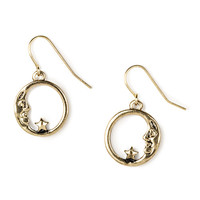 Antique Gold Crescent Moon with Star Drop Earrings