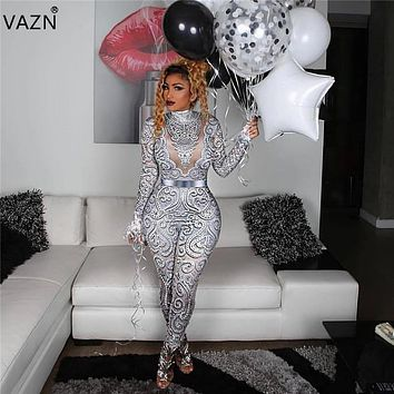 VAZN 2019 New Women Skinny Long Jumpsuits Sexy Stand Neck Full Sleeve Ladies Hollow Out Jumpsuits This is Print Not Sequin LZ476