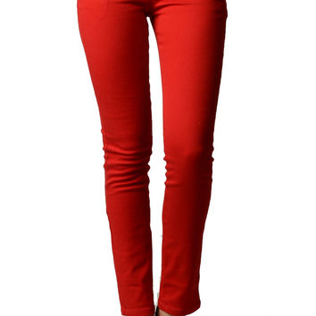 Red Color Denim Skinny Jeans