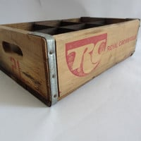 Vintage wood crate retro storage box bin container
