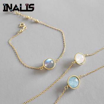 INALIS Newest Charming Bracelet S925 Sterling Silver White Gray Moonstone Aquamarine Bead Link Chain Gold Color Bangle for Women