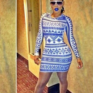 Blue White Printed Long Sleeve Mini Bodycon Dress