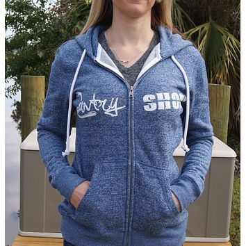 Marled Fleece Full-Zip Hoodie - Blue