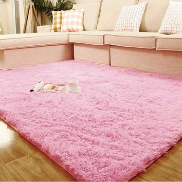 1 Piece Pink Super Soft 80*120cm Table Large Doormat Livingroom Rugs Anti-Skid Shaggy Plush Carpet