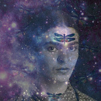 Frida Kahlo Cosmic Dragonfly Print Mixed Media Original Photomontage Modern Home Decor Small to Poster Galaxy Space Black White Blue Purple
