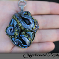 Octopus, Tentacles, SteamPunk, Art Nouveau, Silver, Metallic, Polymer Clay, Pendant, Necklace, Purple, Green, Blue Ocean,