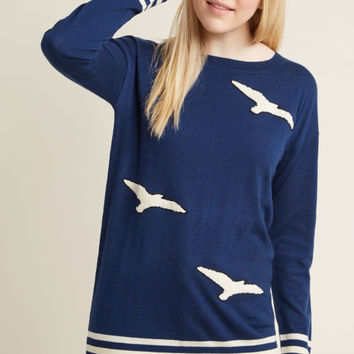 Bird's Eye Bold Tunic Sweater