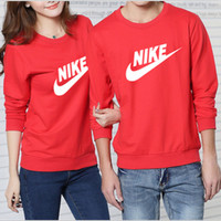 NIKE Set head fleece couple loose long-sleeved round collar cotton Red
