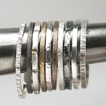 Skinny stacking sterling silver rings, set of 7 - choose any 7 from hammered, oxidized and polished silver rings.