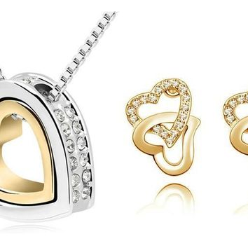 Jewelry Sets heart wedding fashion Czech Crystal Double Heart necklace