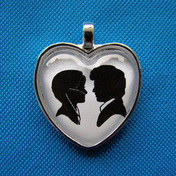 Hazel and Augustus from The Fault in Our Stars Heart Silhouette Cameo Pendant Necklace