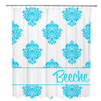 Classic Damask Personalized Shower Curtian