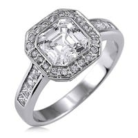 BERRICLE Sterling Silver Asscher Cut Cubic Zirconia CZ Halo Womens Engagement Wedding Bridal Ring