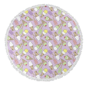 ICE CREAM Round Beach Towel By Norhern Whimsy