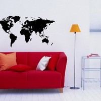 World Map Wall Vinyl Decal Art Sticker Home Modern Stylish Interior Decor for Any Room Smooth and Flat Surfaces Housewares Murals Graphic Bedroom Living Room (237)