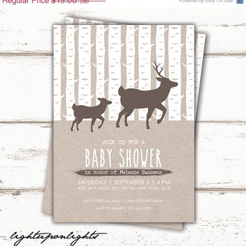 ON SALE Deer Baby Shower Invitation Print, Woodland Baby Shower Invitation, Kraft paper Baby Shower, Unique Baby Shower printable, Forest.
