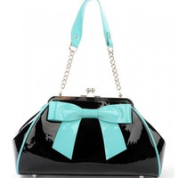 Pinup Couture Bow Handbag Black Teal Contrast