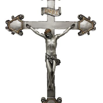 "RELIGIOUS STATUE, Crucifix, Pewter Style Finish, Golden Highlights, 16"" WALL CROSS"