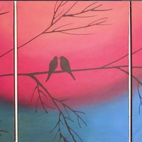 """ARTFINDER: original love bird abstract landscape """"The Rainbow Tree"""" rainbow colours painting art canvas - 48 x 20 inches romance by Stuart Wright - A good sized original abstract canvas set of 3 ..."""