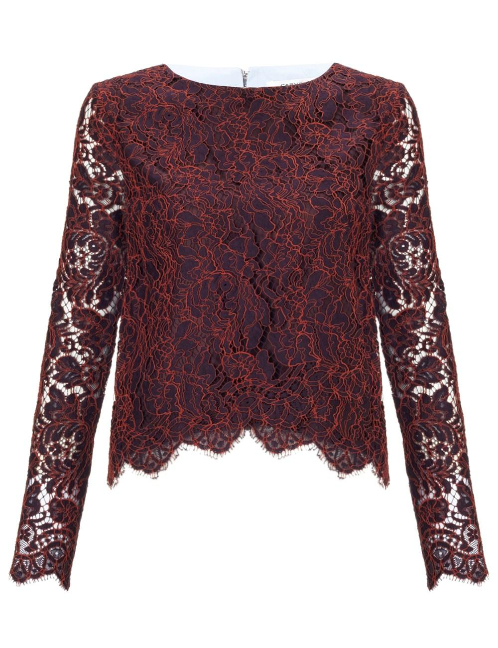 Burgundy Lace Poplin Top Carven From Avenue 32 Epic