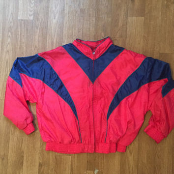 Red Vintage 90s Windbreaker Clothing Jacket Rain Men Women Tee Top Tshirt