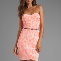 Dolce Vita Maylee Indonesian Ikat Strapless Wrap Dress in Coral