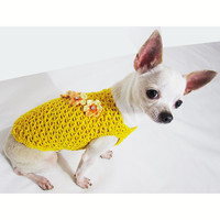 Yellow Crystal Flower Dog Clothes Luxury Chihuahua Fashion Pet Clothing Handmade Net Crochet DK961 Myknitt - Free Shipping