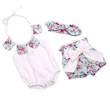 Floral Baby Rompers Toddler Summer Boutiques Baby Girls Romper+Short Pant+ Bow Headband Vintage Newborn Ruffle Neck Clothes Set