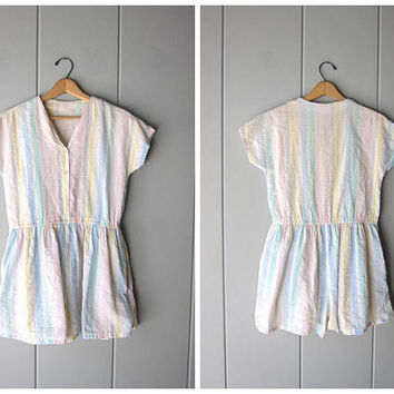 Vintage 80s Romper Pastel Rainbow Striped Jumper Sear Sucker White Cotton Short Summer Coveralls Shorteralls One Piece Playsuit Womens Small