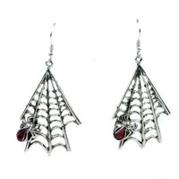 Hanging Gothic Spiderweb & Spider Earrings Cosplay