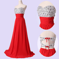 Grace Karin Women Party Formal Evening WEDDING CHIFFON Bridesmaid Prom Dress RED