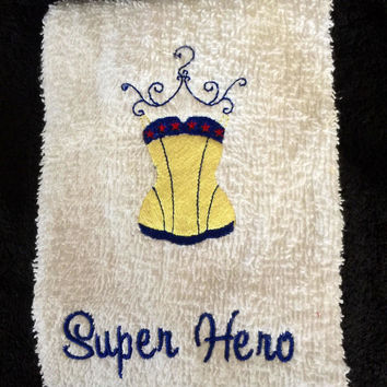 Super hero Towel Wonder Woman Inspired Comic book Personalize it with your Name Birthday Gift