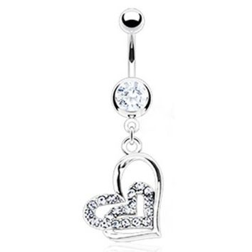 "14g Dangling Loop Heart Sexy Belly Button Navel Ring Dangle Body Jewelry Piercing with Clear Gems and Surgical Steel Bar 14 Gauge 3/8"" Nemesis Body JewelryTM"