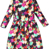 Heart Print Long Sleeve Pleated Mini Dress