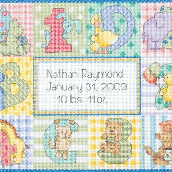 "Dimensions/Baby Hugs Counted Cross Stitch Kit 12""X9""-Zoo Alphabet Birth Record (14 Count)"