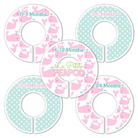 5 Custom Made Baby Closet Dividers - Pink Whales and Aqua Dots Design - Girl Whales Nursery Baby Shower gift
