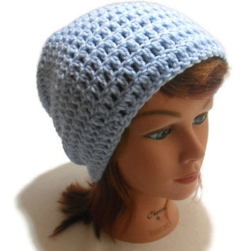 Crochet Slouchy Beanie Hat in Light Blue
