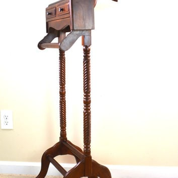 Vintage Valet Stand, Wooden Valet, Suit Stand, Butler Valet Suit Holder, Clothes Hanger, Suit Rack, Coat Rack, Butler Stand, Mens Suit Valet