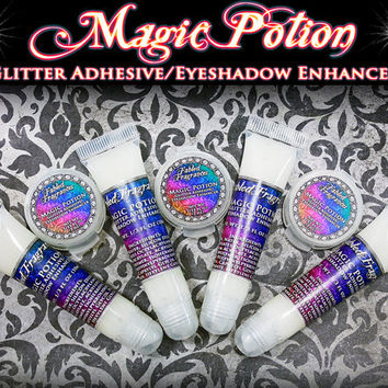 MAGIC POTION Glitter Adhesive and Eyeshadow Enhancer: Sample Clamshell or 10mL Squeeze Tube, Loose Eyeshadow Primer
