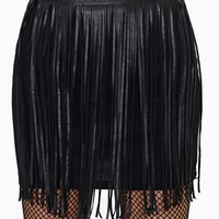 Reverse Outer Fringes Faux Leather Skirt