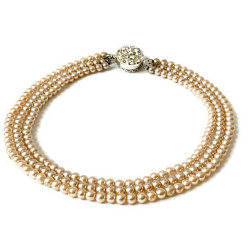 Sarah Coventry Pearl Necklace, Convertable Triple Strand, Faux Pearl, Reversible Rhinestone Pearl Clasp, Vintage, Sarah Coventry Jewelry