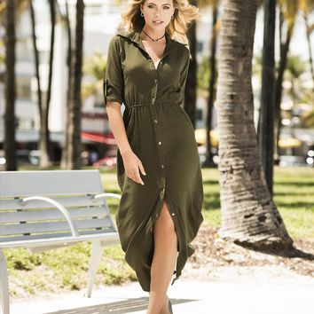 Olive Tailored Shirt Inspired Long Dress Resort Beach Wear