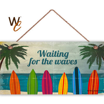 "Surf Sign, Waiting For The Waves, Colorful Surfboards, Weatherproof 5"" x 10"" Sign, Beach Wall Plaque, Beach House, Surfing, Made To Order"
