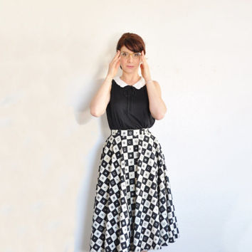 checkered mid century circle skirt . white black crown compass and fleur de lis .extra small.xs