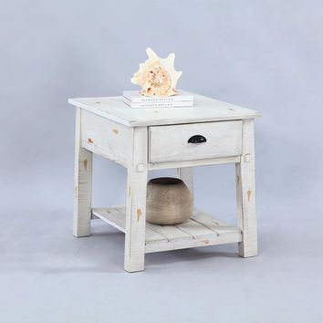 Willow Rustic Rectangular End Table Distressed White