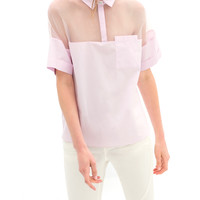 See Through Organza Splice POLO Shirt