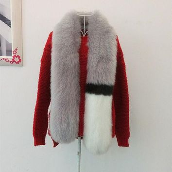 New Lady Blinger Long Faux Fur Scarf Multi Colors Patchwork Creative Style Fake Fur Scarf Women Striped Pink Fur Scarf Winter