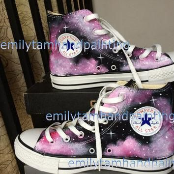 Custom Converse Galaxy Sneakers Hand Paint Galaxy Shoes Purple Galaxy Kicks Reserved f